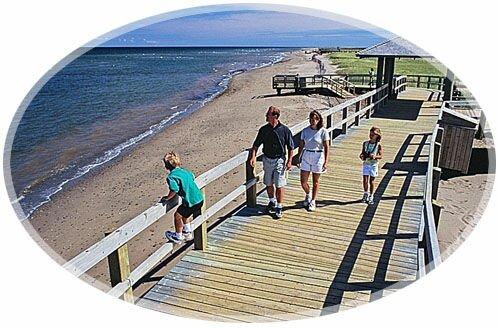 Family at Eco-Centre Irving, La Dune de Bouctouche, Bouctouche, New Brunswick